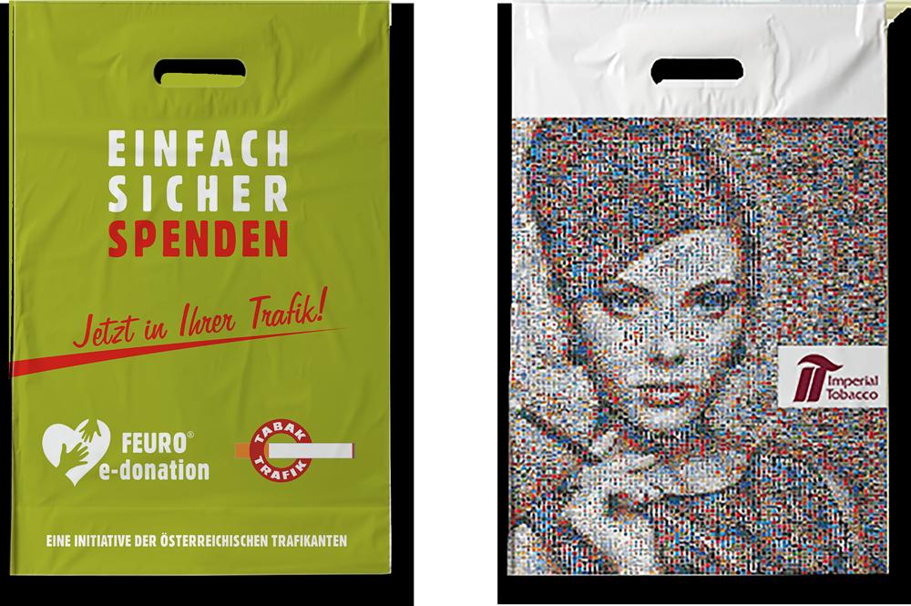 Grafik, Design, Produktion für FEURO eDonation, Tabak Trafiken Österreich
