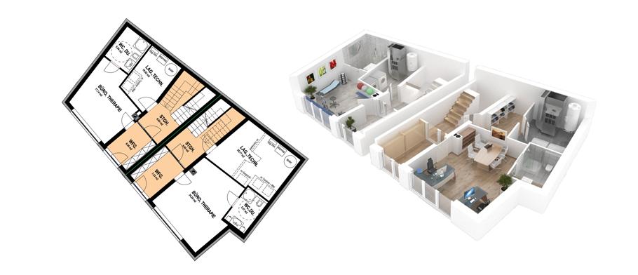 Tiefenthaler Schichtle Bau, Oberndorf, Werbeagentur Salzburg, Full-Service, Isometrische Zeichnungen und Visualisierungen